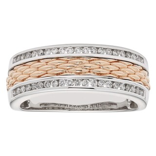 Sofia Men's 14k White and Rose Gold 1/3ct TDW Round-cut Diamond Wedding Band