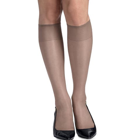 Silk Reflections Womens Soft Taupe Silky Sheer Knee Highs with Reinforced Toe (Pack of 2)