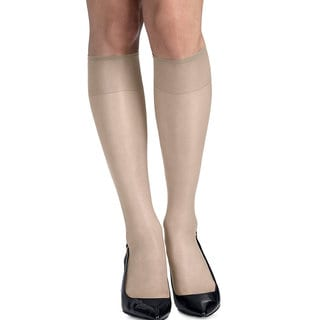 Silk Reflections Women's Silky Sheer Pearl Knee Highs with Reinforced Toe (Pack of 2)
