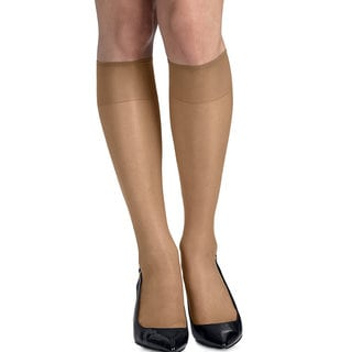 Silk Reflections Women's Silky Sheer Nude Knee Highs with Reinforced Toe (Pack of 2)