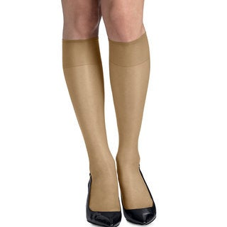 Silk Reflections Women's Silky Sheer Natural Knee Highs with Reinforced Toe (Pack of 2)