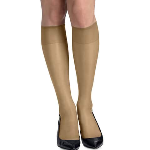 Silk Reflections Womens Silky Sheer Little Color Knee Highs with Reinforced Toe (Pack of 2)