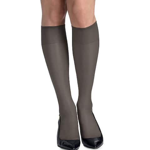 Silk Reflections Womens Silky Sheer Jet Knee Highs with Reinforced Toe (Pack of 2)