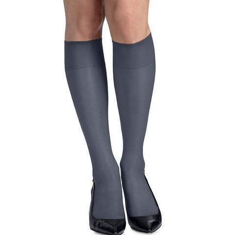Silk Reflections Womens Silky Sheer Classic Navy Knee Highs with Reinforced Toe (Pack of 2)