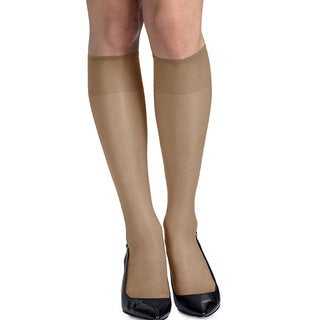 Silk Reflections Women's Silky Sheer Barely There Knee Highs with Reinforced Toe (Pack of 2)