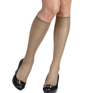 Silk Reflections Women's Silky Sheer Travel Buff Knee Highs (Pack of 2)
