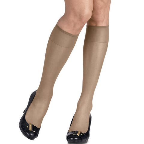 Silk Reflections Womens Silky Sheer Travel Buff Knee Highs (Pack of 2)