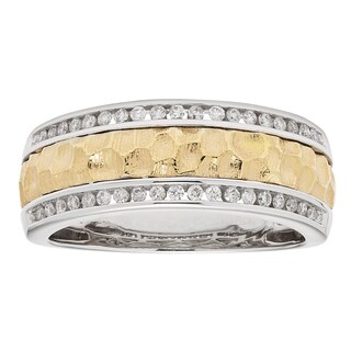 Sofia Men's 14k White/ Yellow Gold 1/3ct TDW Round-cut Wedding Band