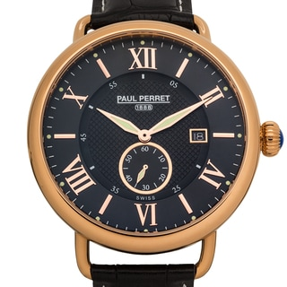 Paul Perret Dumas Mens Swiss quartz, Sapphire crystal, Superluminova, cabochon crown, genuine leather