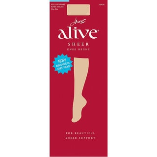 Alive Women's Full Support Barely Black Sheer Knee Highs (Pack of 2)