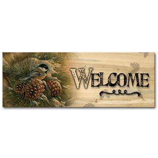 WGI Gallery December Dawn Chickadee Indoor/Outdoor Welcome Plaque/Sign Printed on Wood
