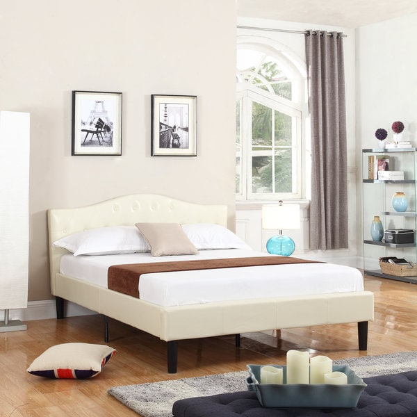 Classic Deluxe Bonded Leather Platform Bed With Wooden Slats In Ivory