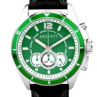 Argenti Atelier Men's Racing Style Chronograph Watch. Miyota JS50 Movement, Bright Luminescence