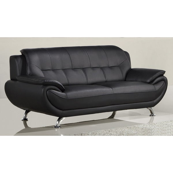 American Leather Sofas Reviews: Shop American Eagle Black Bonded Leather Sofa