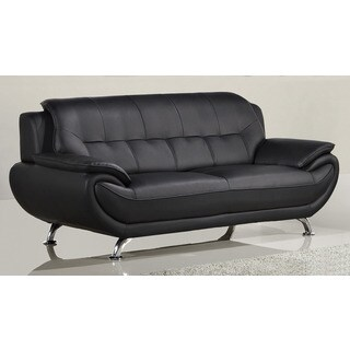 American Eagle Black Bonded Leather Sofa