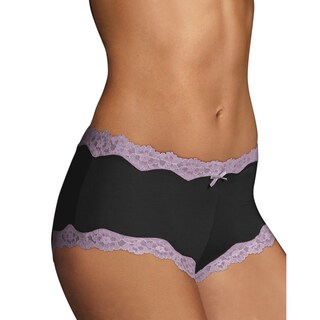 Cheeky Women's Black With Rum Raisin Scalloped Lace Hipster