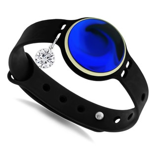 GlamSport Bleu Ice/Black 8-inch Fitness Tracker Band With Cubic Zirconia Charm
