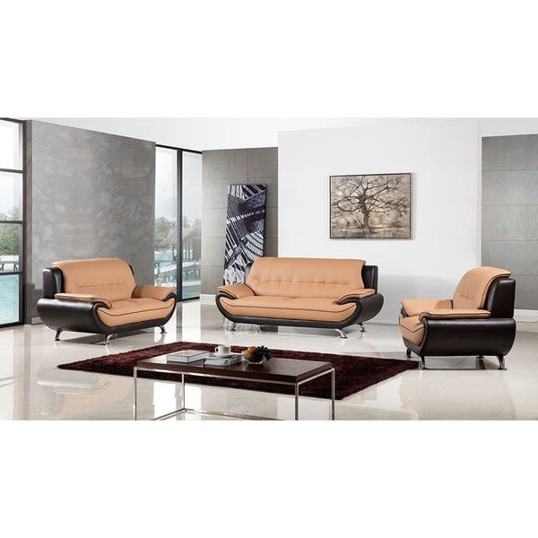 Cool Shop American Eagle Brown Two Tone Bonded Leather 3 Piece Pabps2019 Chair Design Images Pabps2019Com