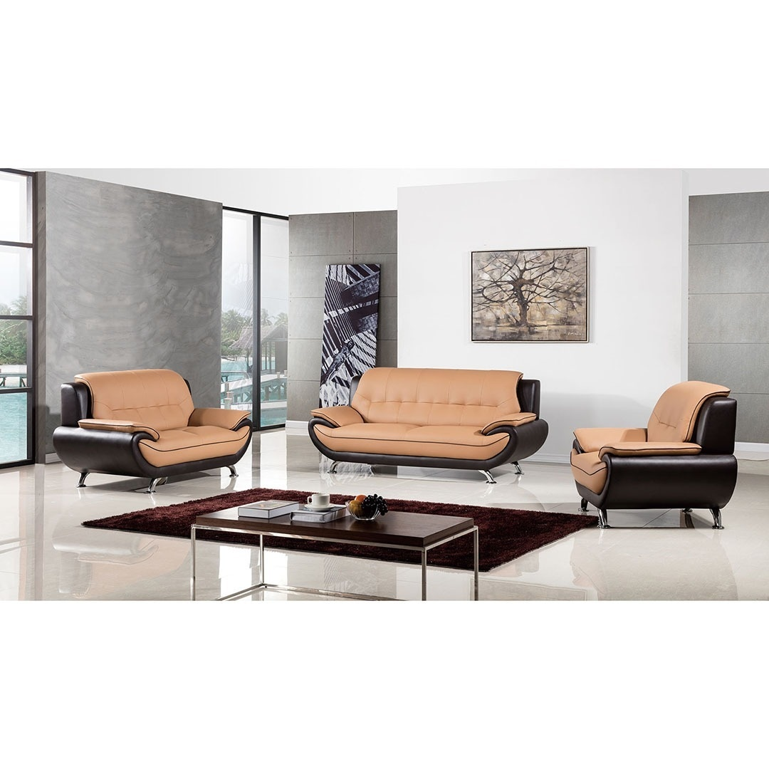 American Eagle Brown Two Tone Bonded Leather 3 Piece Sofa Set
