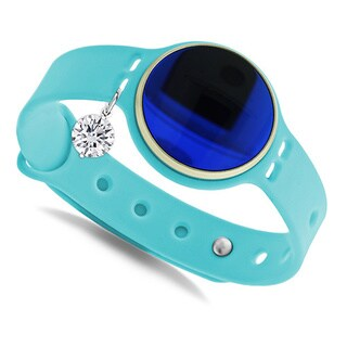 Glamsport Bleu Ice 8-inch Turquoise Band Fitness Tracker with Cubic Zirconia Charm