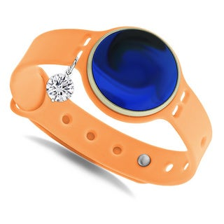 GlamSport Bleu Ice/Tangerine 8-inch Fitness Tracker Band With Cubic Zirconia Charm