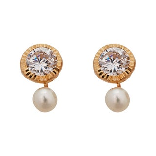 Decadence 14K Yellow Gold Micropave Open Heart CZ Screw Back Stud Earring