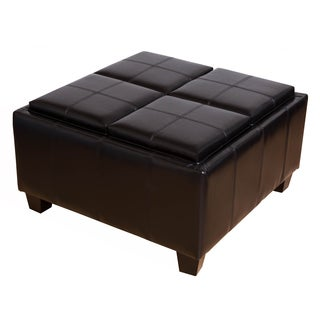 Somette Sheffield Espresso Bonded Leather Tray-Top Storage Ottoman