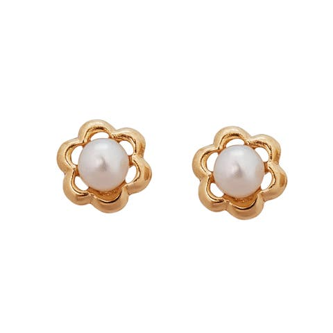 Decadence 14K Yellow Gold High Polished Small French Flower Freshwater Pearl Hat Stud Earring