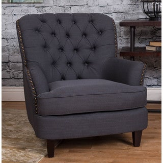 Somette Steel Blue Microfiber Tufted Accent Chair