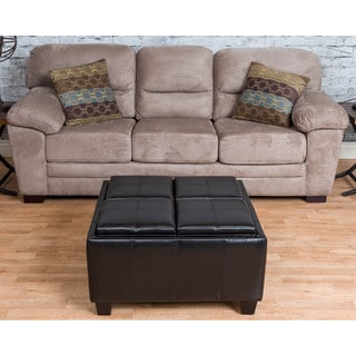 Somette Stratton Black Bonded Leather Tray-Top Storage Ottoman