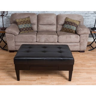 Somette Castleberry Black Bonded Leather Ottoman with Drawer