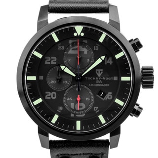 Tschuy-Vogt A15 Crusader  Mens Swiss quartz watch, Military inspired design, Sapphire, Superluminova, high grade leather strap