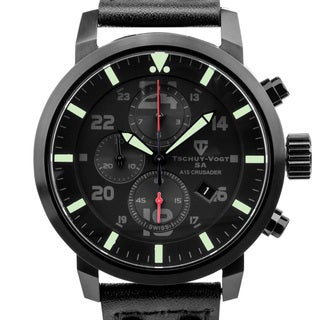 Tschuy-Vogt A15 Crusader ? Men?s Swiss quartz watch, Military inspired design, Sapphire, Superluminova, high grade leather strap