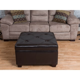 Somette Vona Espresso Tufted Bonded Leather Storage Ottoman