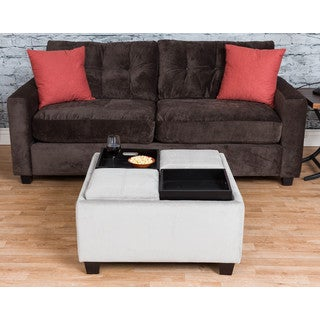 Somette Wilton Grey Microfiber Tray-Top Storage Ottoman