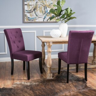 Nyomi Fabric Dining Chair (Set of 2) by Christopher Knight Home (Option: Deep Purple)