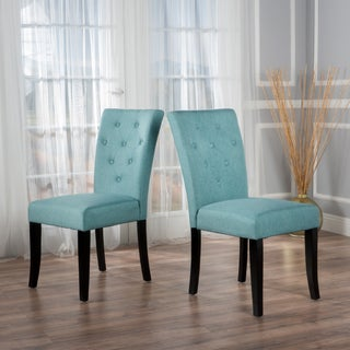 Nyomi Fabric Dining Chair (Set of 2) by Christopher Knight Home (Option: Blue)