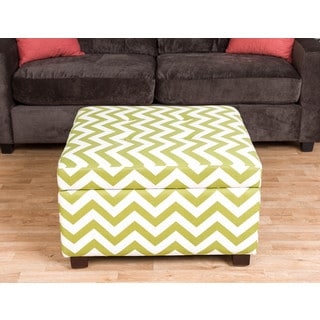 Somette Garland Green Chevron Storage Ottoman
