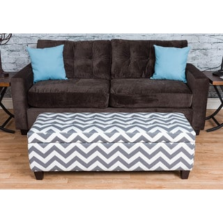 Somette Medina Grey Chevron Storage Ottoman Bench