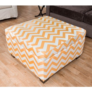 Somette Ponce Orange Chevron Storage Ottoman