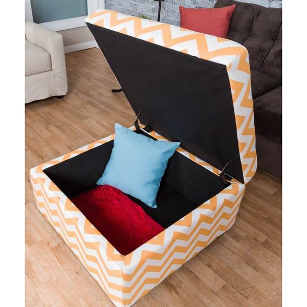 Fine Shop Somette Ponce Orange Chevron Storage Ottoman Free Andrewgaddart Wooden Chair Designs For Living Room Andrewgaddartcom