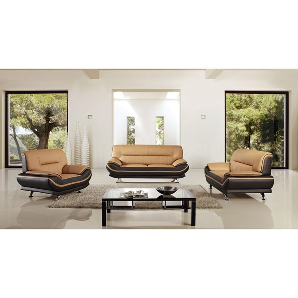 Shop American Eagle Two Tone Brown Bonded Leather Sofa Set Free