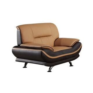 American Eagle Brown and Dark Brown Bonded Leather Arm Chair