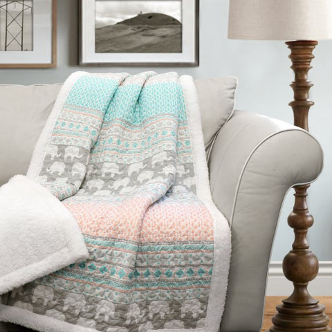 The Curated Nomad Presidio Elephant Stripe Sherpa Throw