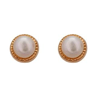 Decadence 14k Yellow Gold Freshwater Pearl Diamond-cut Bezel Stud Earrings