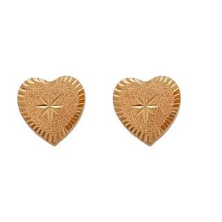 Decadence 14k Yellow Gold Diamond-cut Star Center Heart Hat Stud Earrings