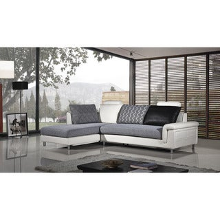 American Eagle Grey and White Fabric Sectional with Right Chaise