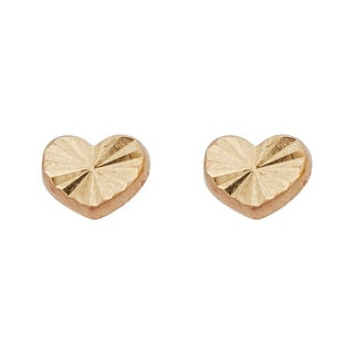 Decadence 14k Yellow Gold Diamond-cut Heart Stud Earrings