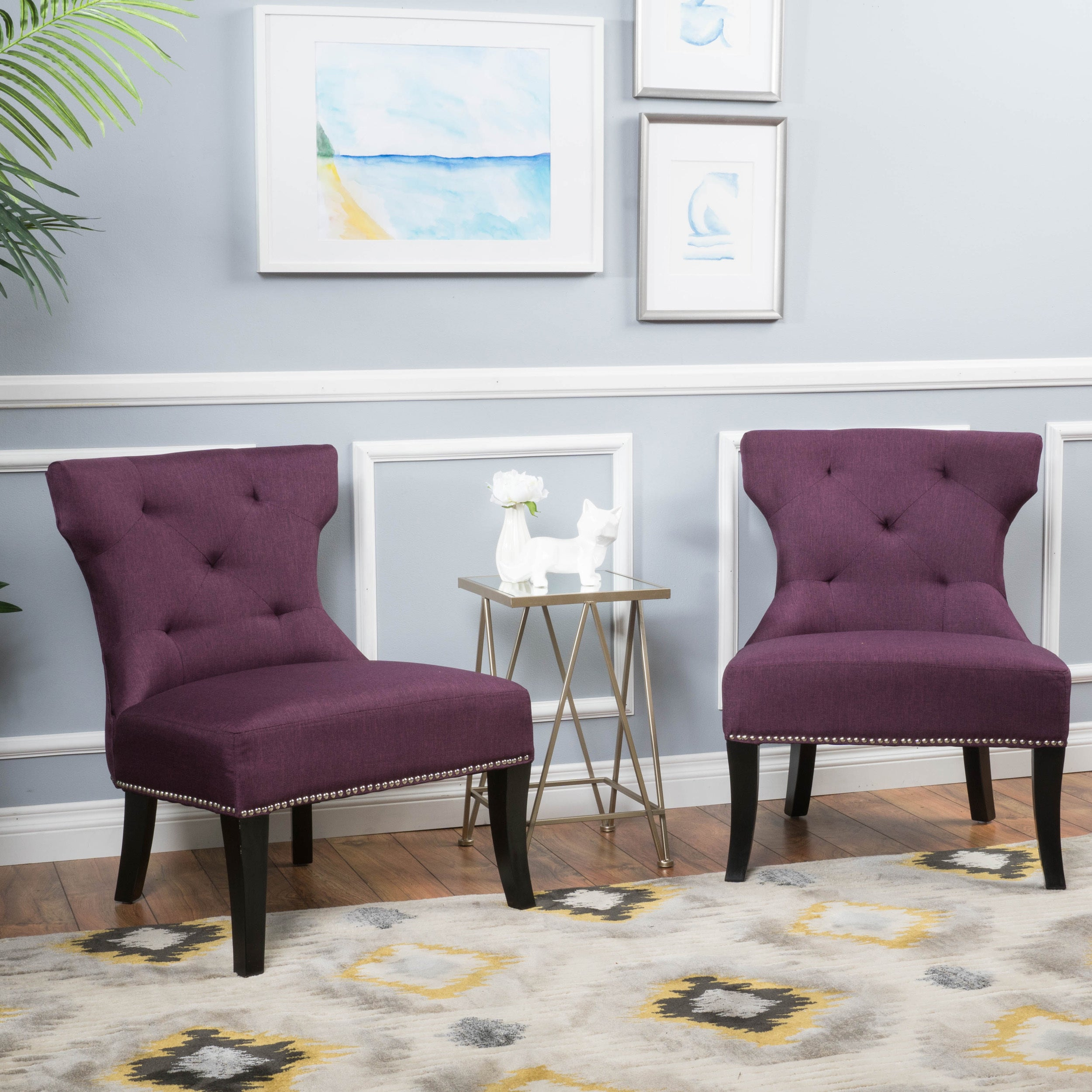 Amber Studded Fabric Accent Chair Set of 2 by Christopher Knight