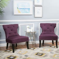 Amber Studded Fabric Accent Chair (Set of 2) by Christopher Knight Home
